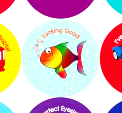 Orthoptist and Eye Stickers Looking Good
