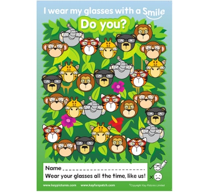 Jungle Glasses Charts, school vision screening equipment