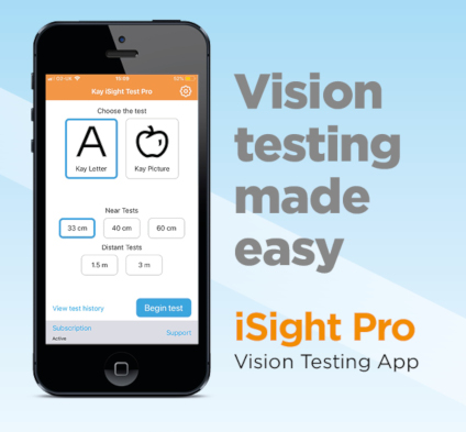 Kay iSight Pro vision test app, digital vision test